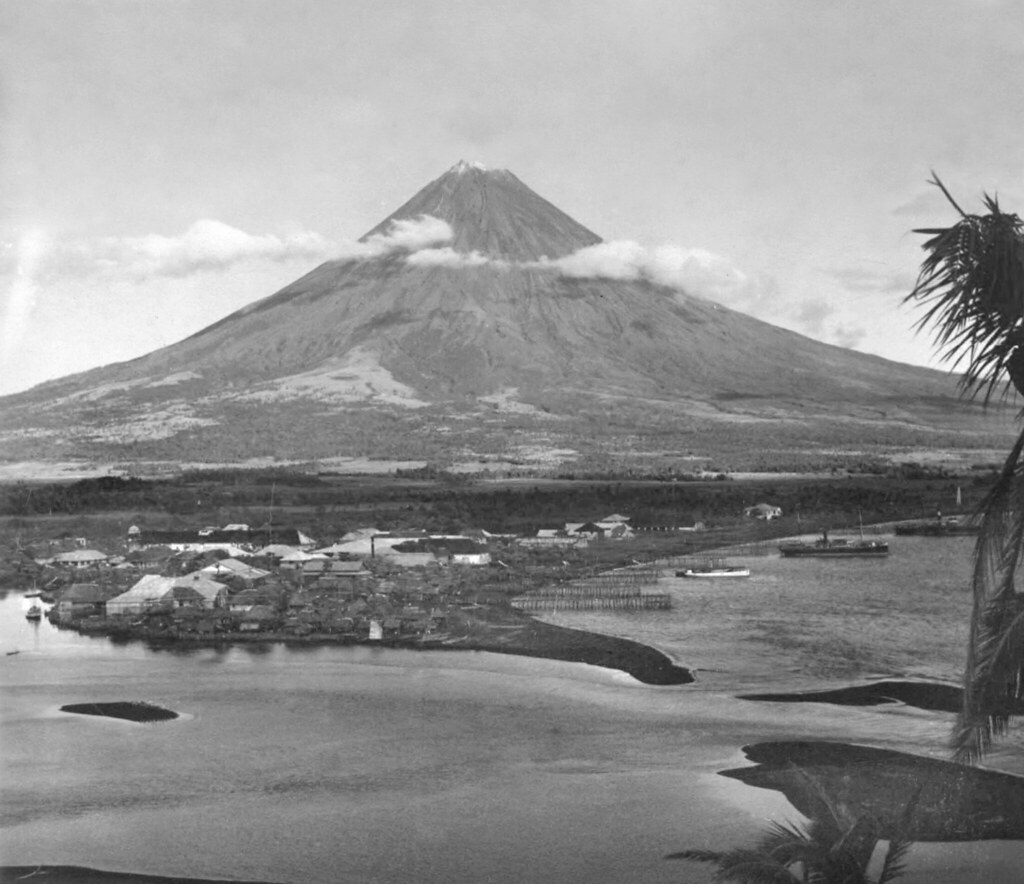 Mayon Volcano and Town of Legaspi, Southeastern Luzon Island, Philippines, early 20th Century, (2)