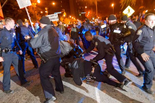 Atlanta riot cops attacked the Occupy movement and arrested people for refusing to leave the banned area. Hundreds have been arrested in anti-capitalist protests around the United States. by Pan-African News Wire File Photos