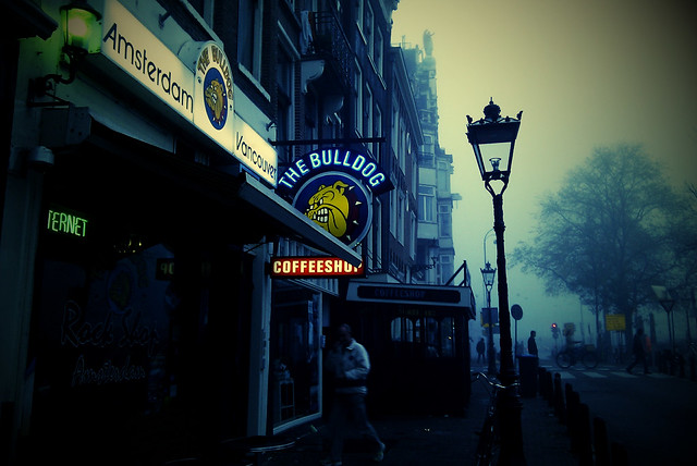 Unedited shot of the Bulldog Coffeeshop in Amsterdam.