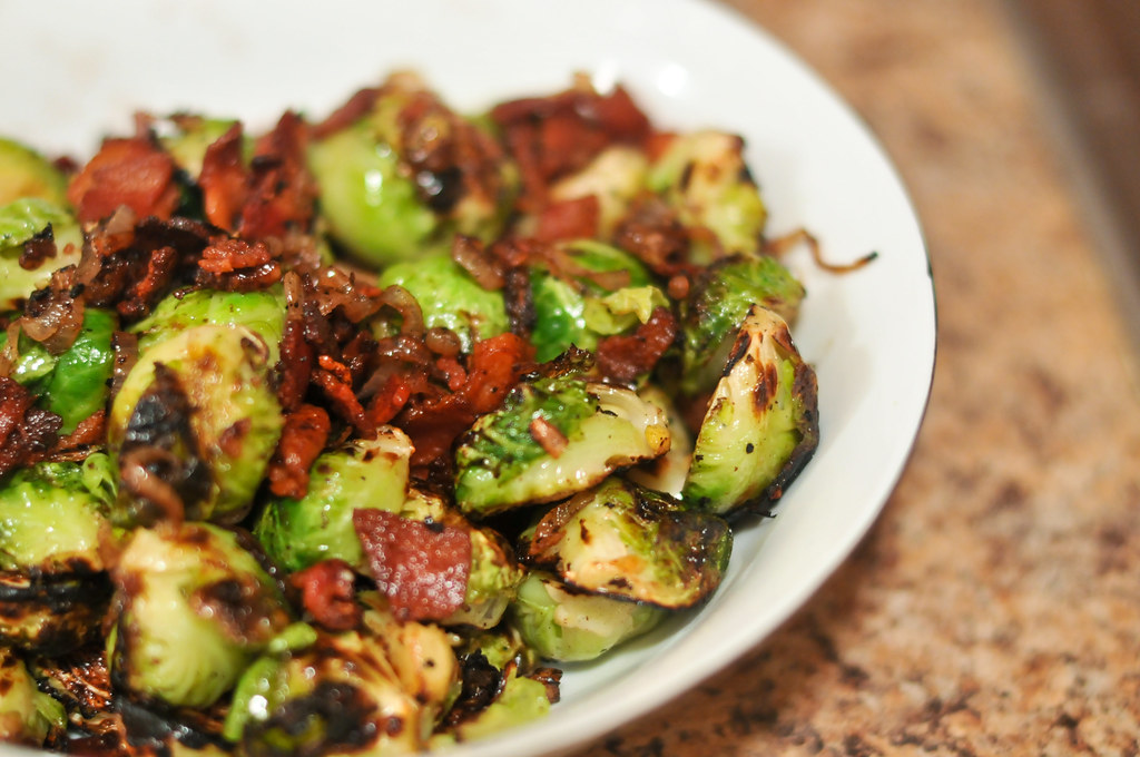 Crispy Brussels Sprouts with Bacon and Shallots