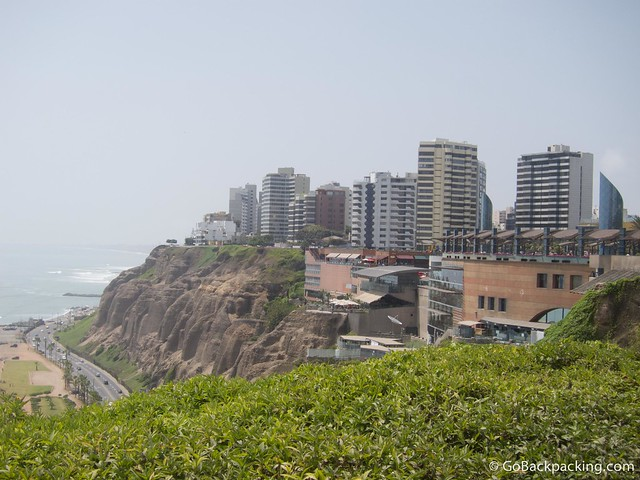 The Larcomar shopping mall is literally built into the cliffside