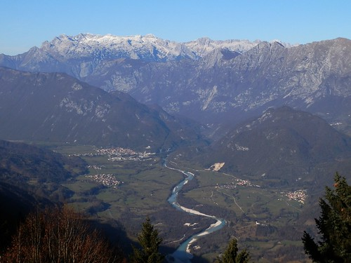 View on Soča Valley (Valle dell'Isonzo) Kobarid (Caporetto) and Mount Canin (from Kolovrat)