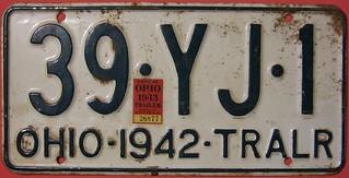 OHIO 1942-43 TRAILER PLATE
