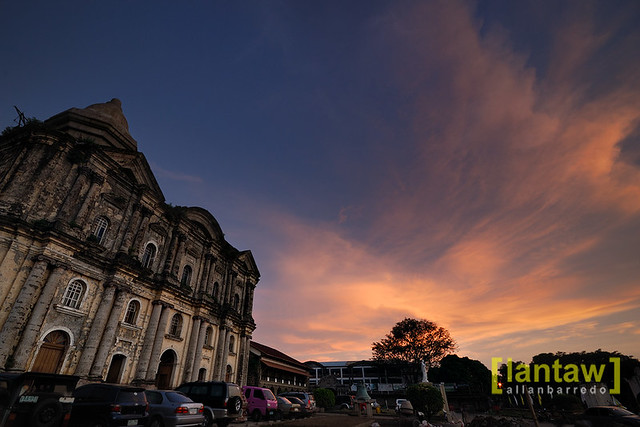 Outdoor shot of the Taal Basilica at sunset