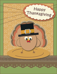 Butterfly Punch Turkey Thanksgiving Card