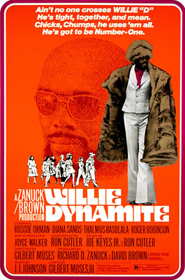 Another, similar poster featuring a black man in a fur coat flanked by women called Willie Dynamite