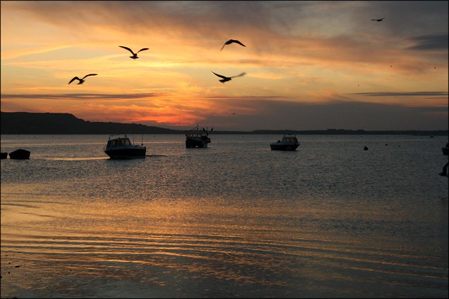 Sunset over Christchurch Harbour, Dorset