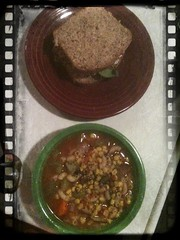 Sandwich and lentil soup