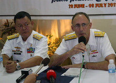 PUERTO PRINCESA, Philippines (June 28, 2011) Philippine Navy Vice Commander Orwen Cortez listens as Commander, U.S. Seventh Fleet, Vice Adm. Scott Van Buskirk, answers a question during a press conference following the opening ceremonies for CARAT Philippines 2011. (U.S. Navy photo by Mass Communication Specialist 3rd Class Christopher S. Johnson)