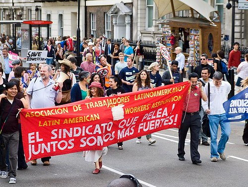 Latin American Workers' Association - public sector march against pension cuts - London, 30 June 2011