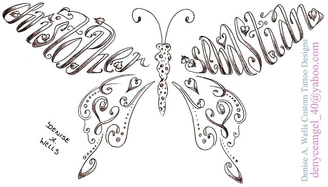 Names Christopher and Sebastian Made into a Butterfly Shaped Tattoo by Denise A. Wells