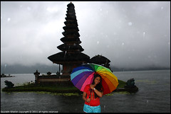 Lake temple and Umbrella Lady