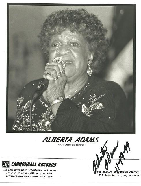 11-19-99 Alberta Adams Autographed 8X10