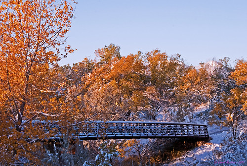 bridge autumn snow fall sunrise colorado coloradosprings pse d60