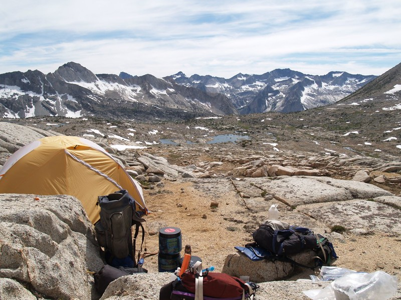 Upper Dusy Basin campsite at 12000 feet elevation