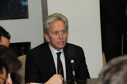 Actor Michael Douglas Speaks With Members of the State Department Press Corps