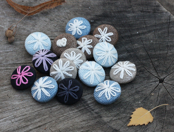 embroidered flower buttons