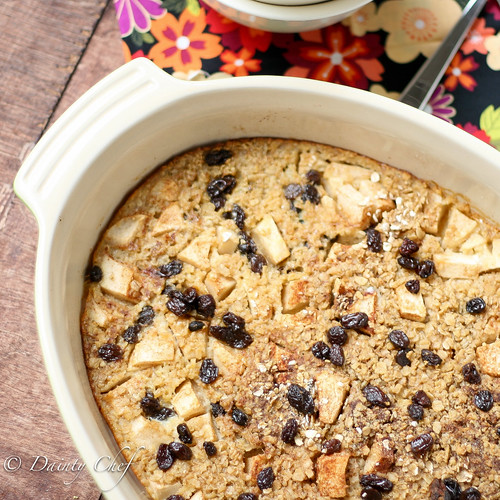 Baked Apple Cinnamon Raisin Oatmeal | Dainty Chef