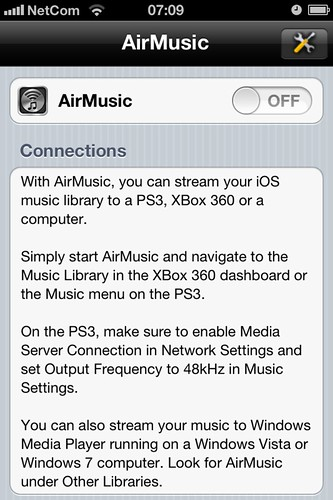 Turn on DLNA streaming on AirMusic