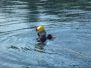 EPA surface supplied diver with helmet camera