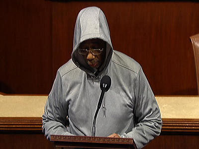 This handout frame grab from video, provided by House Television shows Rep. Bobby Rush, D-Ill., wearing a a hoodie, speaking on the floor of the House on Capitol Hill in Washington, Wednesday, March 28, 2012. by Pan-African News Wire File Photos