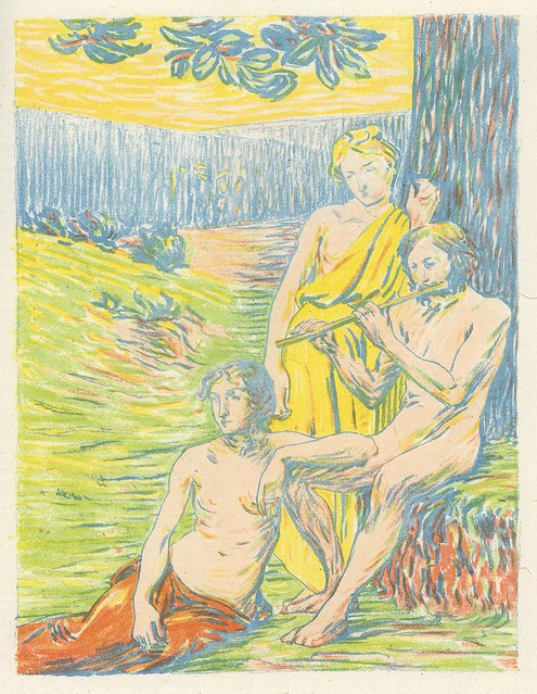 Hippolyte Petitjean.  Dekorativer Entwurf. (Decorative Sketch). Five-color lithograph. Berlin, 1899. Pan Vol. IV, no. 1.