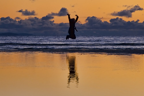 sunset jump for joy
