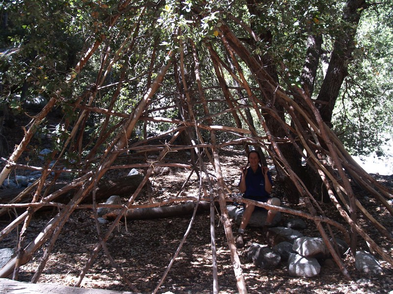 Teepee frame at the Stonehouse Crossing Campground