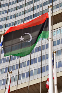 Flag of Libya's National Transitional Council  flying at the UN in Vienna