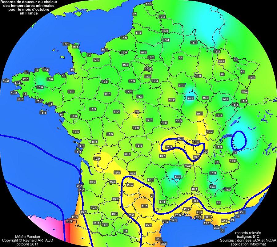 records de douceur ou chaleur des températures minimales pour le mois d'octobre en France Reynald ARTAUD météopassion
