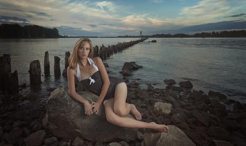 無料写真素材, 人物, 女性, 水着  ワンピース, 人物  海, アメリカ人