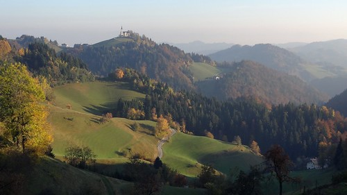 autumn trees panorama mountain mountains tree church forest landscape hill hills slovenia slovenija ravan crni vrh pasja črni