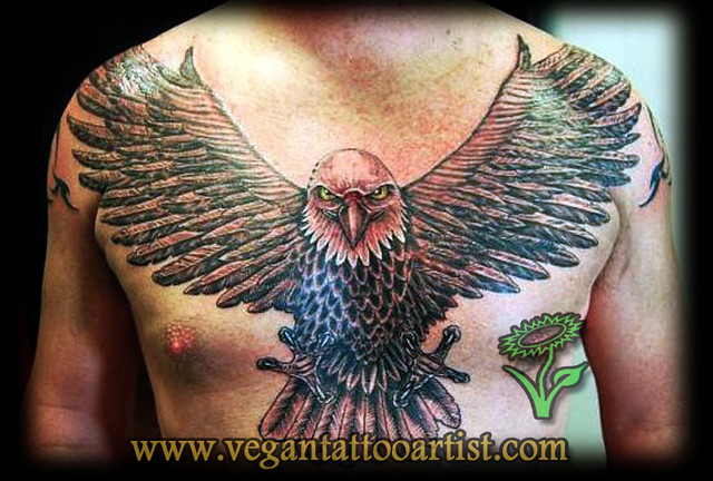 fulll chest eagle tatt...
