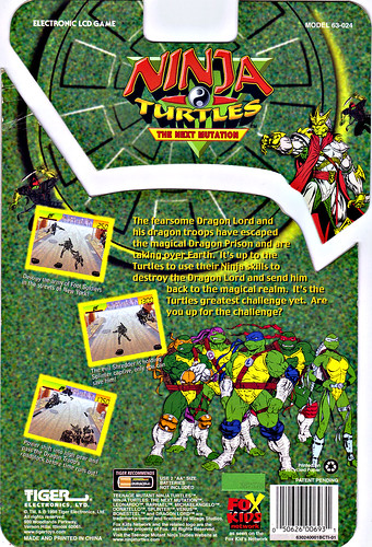 "TIGER ELECTRONICS :: ""NINJA TURTLES: THE NEXT MUTATION"" ELECTRONIC LCD GAME ..card backer ii (( 1998 ))"