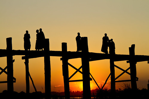 Monks on U Bein bridge - Myanmar (Burma)