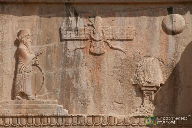 Zoroastrian Symbols at Tombs at Persepolis, Iran