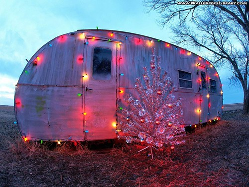 Christmas in a mobile home - old camper with Christmas lights