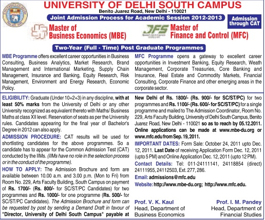 Du University Of Delhi Mfc Master Of Finance And Control Mbe Master Of Business Economics 2012 2014