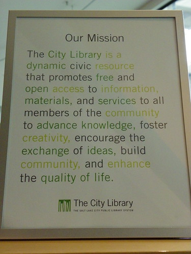 Library mission - Salt Lake City Public Library, Main Library, Utah