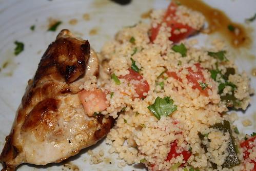 lemon chilli chicken with couscous salad