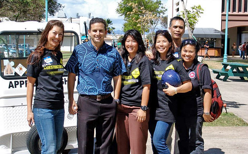 <p>Honolulu Community College and Department of Transportation staffers were happy to escort Lt. Gov. Brian Schatz through the demonstration and heavy equipment areas.</p>