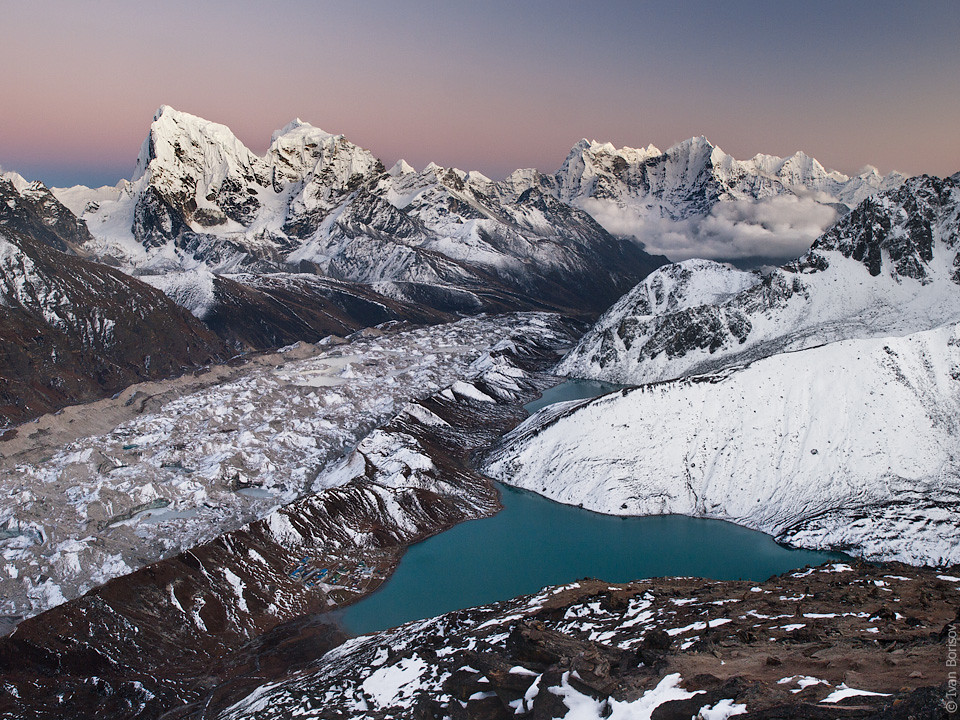 Sunset afterlight over Gokyo lake and mountains as seen from from Gokyo Ri (5360m)