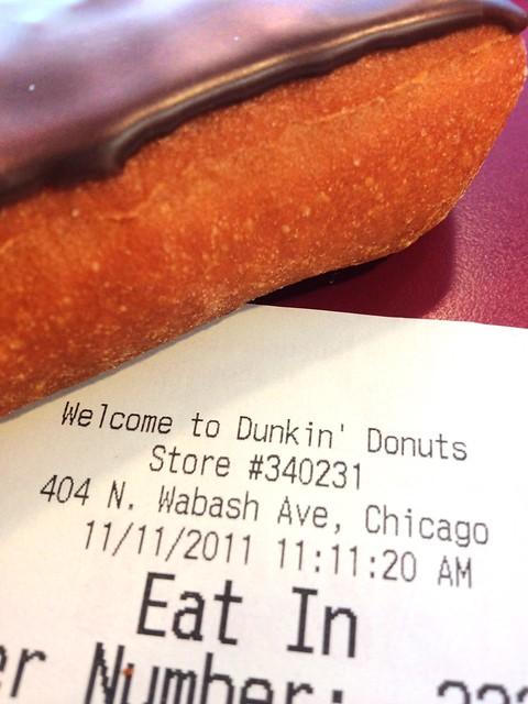 I got a $1 chocolate Long John receipt stamped 11/11/11 11:11:20 SO CLOSE! #111111