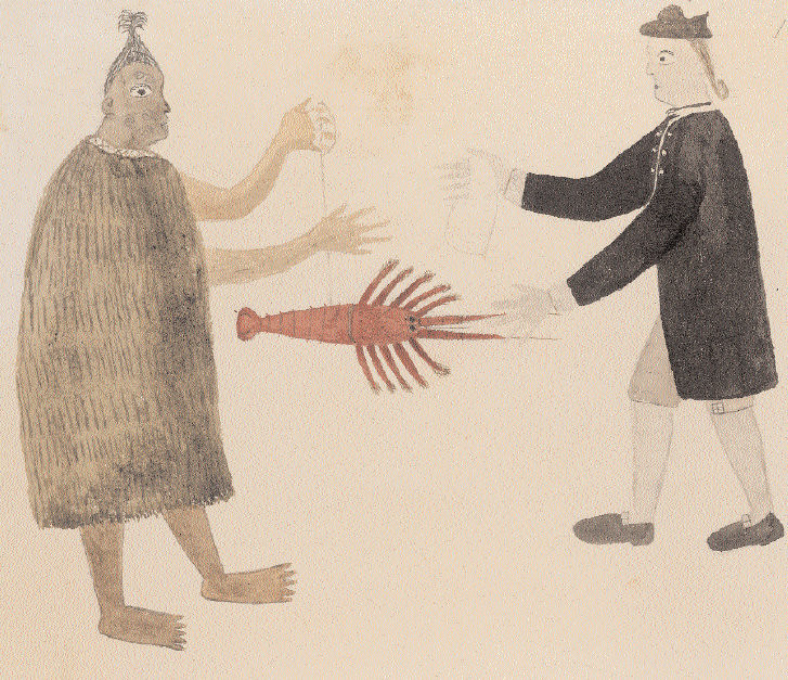 Tupaia, c1769, A Maori man and Joseph Banks exchanging a crayfish for a piece of cloth, British Library London