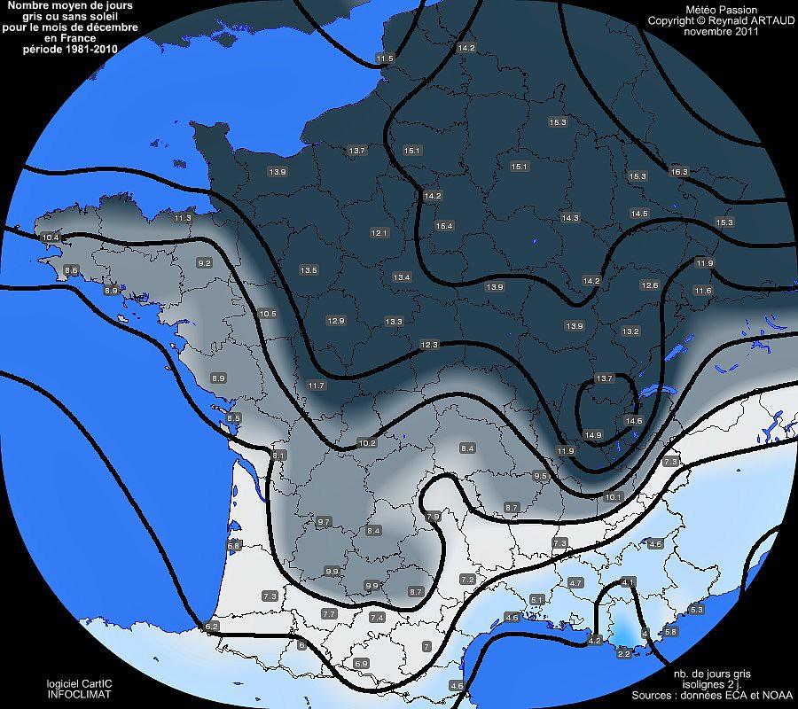 nombre moyen mensuel de jours gris ou sans soleil pour le mois de décembre en France sur la période 1981-2010