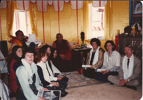 Dagchen Rinpoche's Seattle retinue (Liz, Eugenia, Danny, Adrienne, Kathy, Maliki, Blaine) at an audience with Dilgo Khyentse Rinpoche. HH Dilgo Khyentse was giving Dagchen Sakya a Long Life Wang, Naropa, Boulder, Colorado, USA, 1976 by Wonderlane