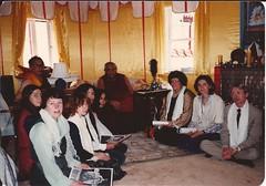 Dagchen Rinpoche's Seattle retinue (Liz, Eugenia, Danny, Adrienne, Kathy, Maliki, Blaine) at an audience with Dilgo Khyentse Rinpoche. HH Dilgo Khyentse was giving Dagchen Sakya a Long Life Wang, Naropa, Boulder, Colorado, USA, 1976