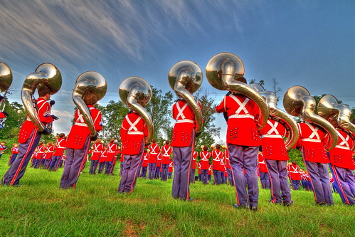 Oak Mountain Marching Band Warms Up at Northridge High School, Tuscaloosa, AL