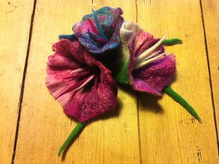 Trio of silk and merino flowers