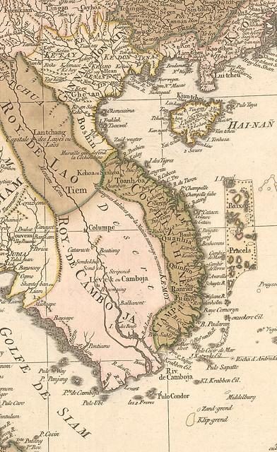 Bản đồ Việt Nam khoảng năm 1760, trong thời Trịnh-Nguyễn phân tranh
